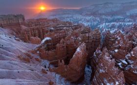 Обои солнце, снег, каньон, зима