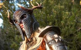 Картинка девушка, воин, рога, шлем, girl, воительница, women