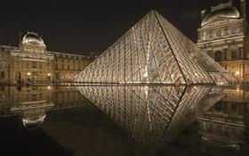 Обои ночь, огни, Париж, Лувр, пирамида