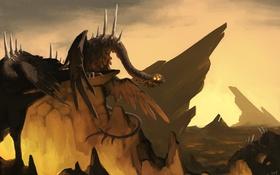 Обои скалы, дракон, монстр, арт