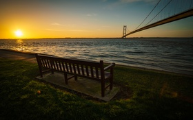 Обои Humber Bridge, скамья, Sunrise