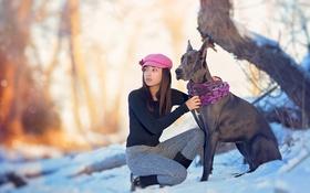 Обои настроение, собака, девочка