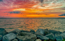 Обои море, небо, берег, камни, закат