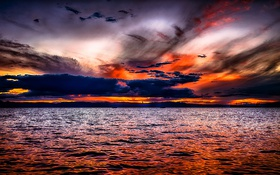Обои небо, облака, пейзаж, закат, красиво