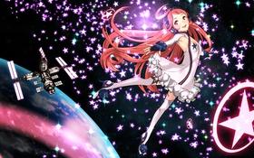 Картинка девушка, космос, звезды, полет, радость, планета, спутник