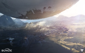 Обои свет, горы, город, планета, мегаполис, Destiny