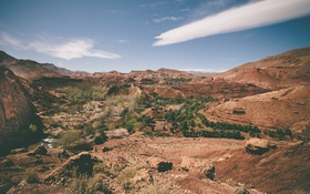 Обои река, холмы, пустыня, сухой, ферма, солнечный