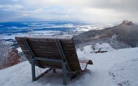 Картинка зима, замок, скамья