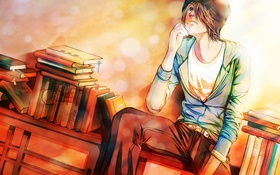 Картинка настроение, книги, арт, парень