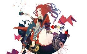 Картинка часы, Девушка, рыбка, коса, оригами
