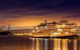 Картинка паро, ночь, сумерки, мост, корабль, огни