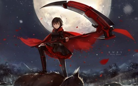 Картинка девушка, ruby rose, аниме, rwby, ruby, арт, upscale