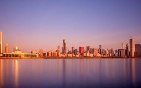Картинка небо, отражение, вечер, зеркало, горизонт, Чикаго, Иллинойс