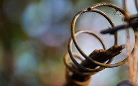 Обои металл, спираль, ржавчина, боке