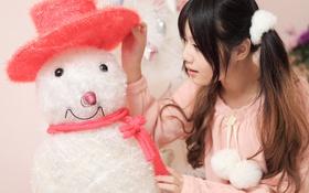 Обои лицо, волосы, игрушка, снеговик, косы