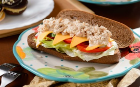 Обои сыр, хлеб, бутерброд, овощи, соус