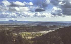 Картинка небо, облака, пейзаж, холмы, долина