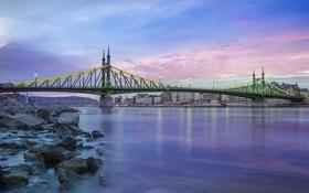Обои Budapest, река, Дунай, Будапешт, Hungary, Венгрия, мост Свободы