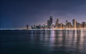 Обои Вечер, Огни, Чикаго, Небоскребы, Здания, Америка, Chicago