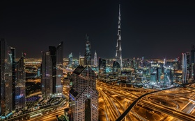 Обои ОАЭ, Дубай, Бурдж-Халифа, панорама, дома, ночь, огни