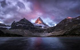 Обои Канада, вода, озеро, море, рассет, панорама, горы