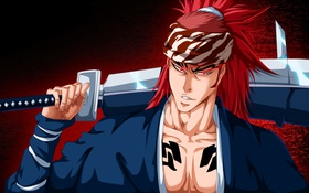 Картинка sword, game, Bleach, sky, red hair, long hair, anime