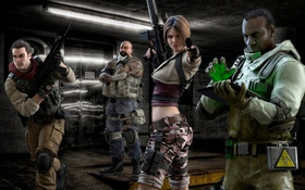Обои pistol, resident evil, biohazard, soldier, woman, man, tatoo