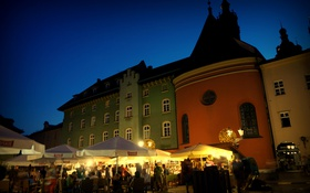 Картинка небо, огни, дома, вечер, площадь, Польша, Краков