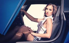 Картинка Lamborghini, Girl, Legs, Beautiful, Model, Blue, LP700-4