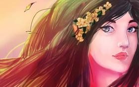 Картинка взгляд, девушка, лицо, ветер, волосы, цветки