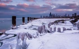 Обои зима, снег, city, небоскребы, USA, америка, чикаго