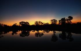 Картинка деревья, озеро, силуэт, сумерки, берег озера