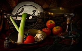 Обои яблоки, лук, весы, томат, чеснок