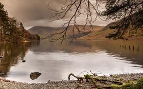 Картинка пейзаж, деревья, природа, горы, небо, озеро