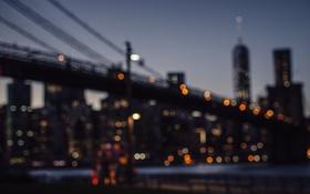 Обои мост, огни, Нью-Йорк, панорама, боке, Соединенные Штаты