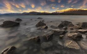 Картинка пейзаж, горы, природа, озеро, рассвет