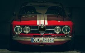 Обои красный, гараж, Alfa Romeo, передок