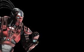 Обои черный фон, киборг, кулак, Mortal Kombat, Sektor