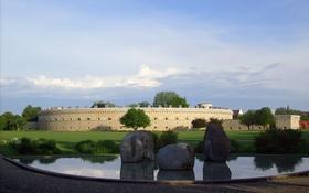 Картинка камни, трава, небо, облака, Ингольштадт, вода, крепость
