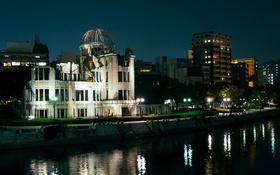 Обои ночь, город, река, фото, дома, Япония, Hiroshima