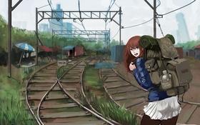 Картинка девушка, пути, город, улыбка, рельсы, дома, аниме