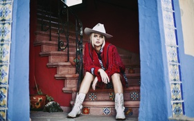 Картинка hat, lips, hair, boots, entrance, stairs, cowgirl