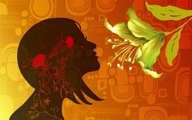 Обои цветок, девушка, вектор, текстура, лепестки, силуэт, профиль