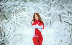 Картинка брючки, свитер, шарф, портрет, зима