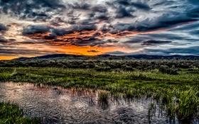 Обои вода, солнце, тучи, восход, sunrise, Shadow Mountain, темная гора