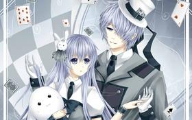 Картинка карты, девушка, игрушка, заяц, шляпа, Парень