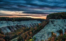 Обои природа, каньон, закат, осень, деревья