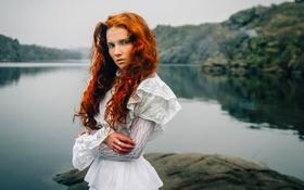 Картинка Вода, Природа, Девушка, Озеро, Волосы, Платье, Белое