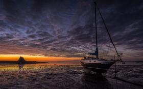 Картинка море, ночь, лодка