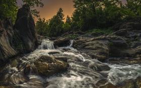 Обои закат, река, скалы, деревья, водопад, вода
